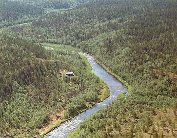 Sotajoki och Pahaoja öde- och hyresstuga. Bild: Ariel Ilmakuva Oy