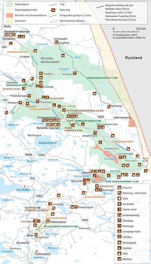 Karta över Karhunkierros © Forststyrelsen, Metsähallitus 2012