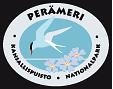 Bottenvikens nationalparks tecknade emblem. Inuti den ovala symbolen finns en silvertärna och växten strandviva avbildad. Längs emblemets yttre kant löper texten Perämeri kansallispuisto nationalpark.