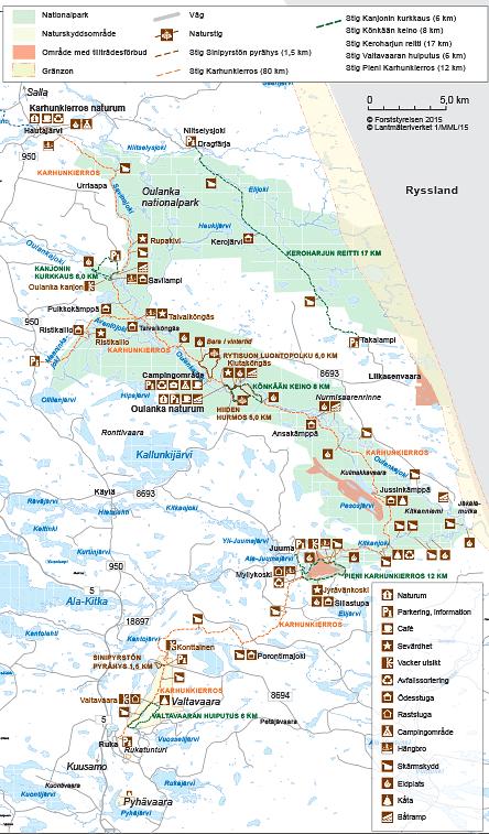 Karta över Oulanka nationalpark © Forststyrelsen